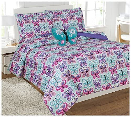 Mk Collection 8pc Full Comforter Set with Furry Butterfly Pillow Butterfly Turquoise Purple Pink White New