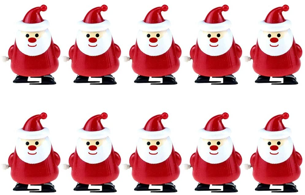 BESTOYARD 1 Set 10pcs Christmas Clockwork Wind-up Walking Toys Fun Cartoon Educational Plaything Party Favors Gift (Santa Claus Style Red) for Christmas Party Supplies