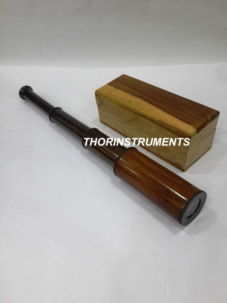 THORINSTRUMENTS (with device) Vintage Nautical Bronze Antique Telescope Natural Box Marine Collectible Decor