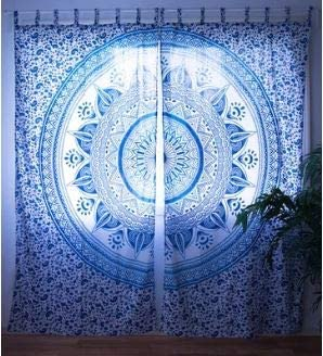 Bless International Curtain Kitchen Window Curtains Curtain & Valance Set Dorm Tapestry Indian Drape Balcony Room Decor Curtain Boho Set Hippie Curtain Panel (Aqua Summer Mandala)