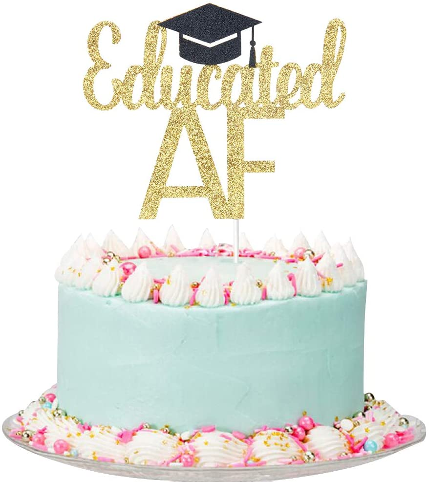 Gold and Black Glitter Educated AF Cake Topper - Graduation Cake Toppers - Congrats Grad Party Decorations Supplies - High School/College Graduate Cake Decorations