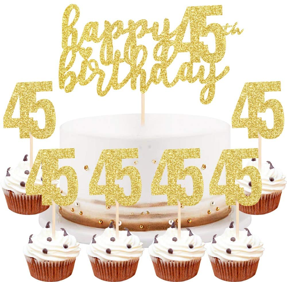 LVEUD Happy Birthday Cake Topper Golden 45th Birthday Happy Cake Topper,Digital 45 Paper Cup Cake Topper,Birthday Party Decorations(1+6) (45)