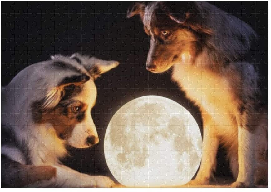 Shining Moon Dog 300 Pieces Jigsaw Puzzle (15 in x 10 in) Toy for Adults Kids Educational Gift Home Decor