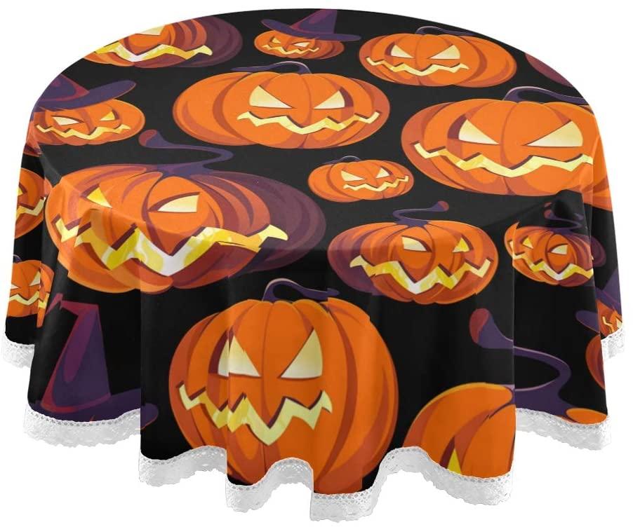 Qilmy Cute Pumpkin Halloween Round Tablecloth 60
