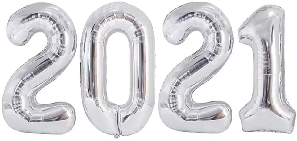 Silver Large 2021 Balloons 40inch Jumbo Foil Mylar 2021 Number for Happy New Year Eve Festival Senior Graduation Event Anniversary Party Supplies Decoration
