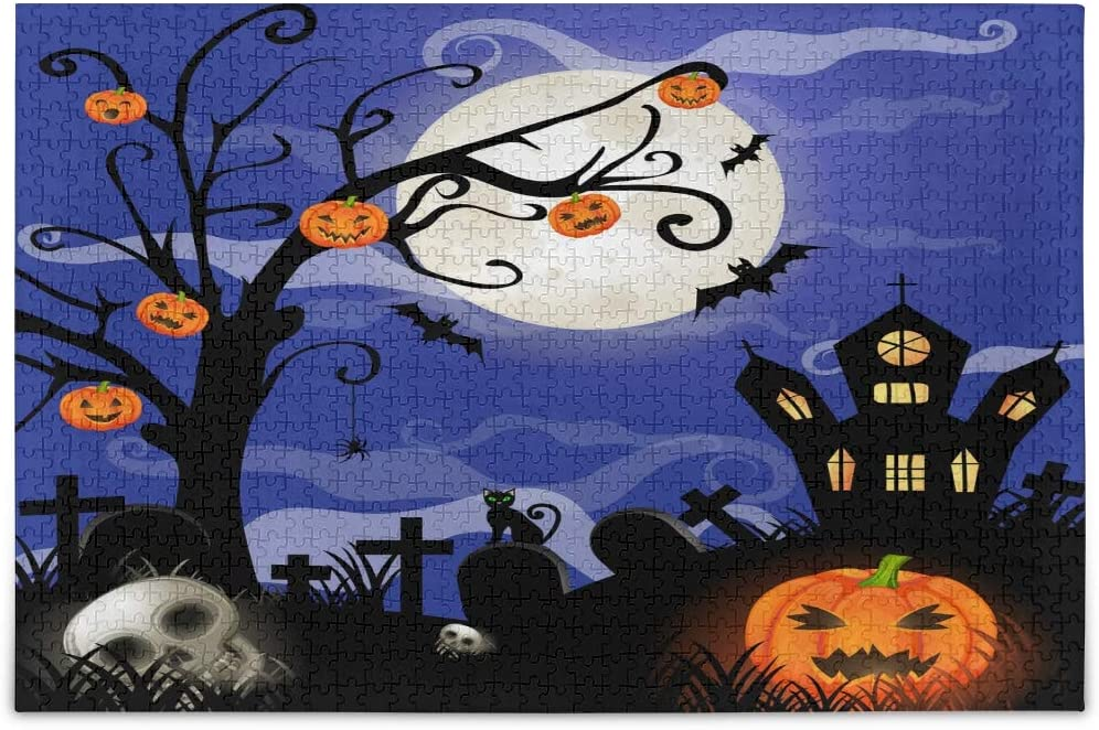 ALAZA Halloween Bat Pumpkin Moon House Jigsaw Puzzle Leisure Creative Games 1000 Pieces for Adults Children Gift