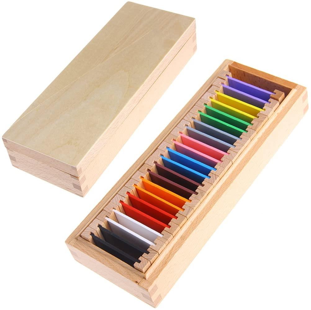Y-YUNLONG Montessori Sensorial Material Learning Color Tablet Box Wood Preschool Toy