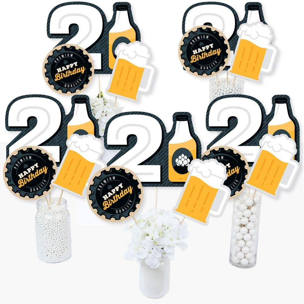 Big Dot of Happiness Cheers and Beers to 21 Years - 21st Birthday Party Centerpiece Sticks - Table Toppers - Set of 15
