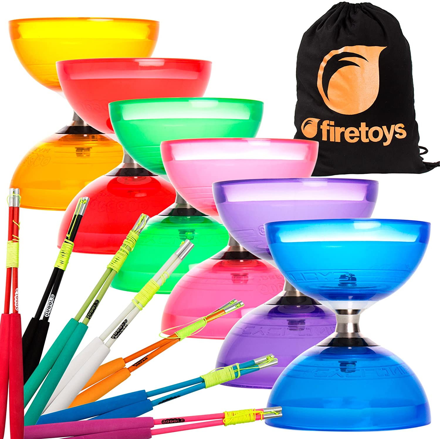 Juggle Dream Cyclone Quartz 2 Triple Bearing Diabolo & Superglass Diablo Sticks Set with Firetoys Bag