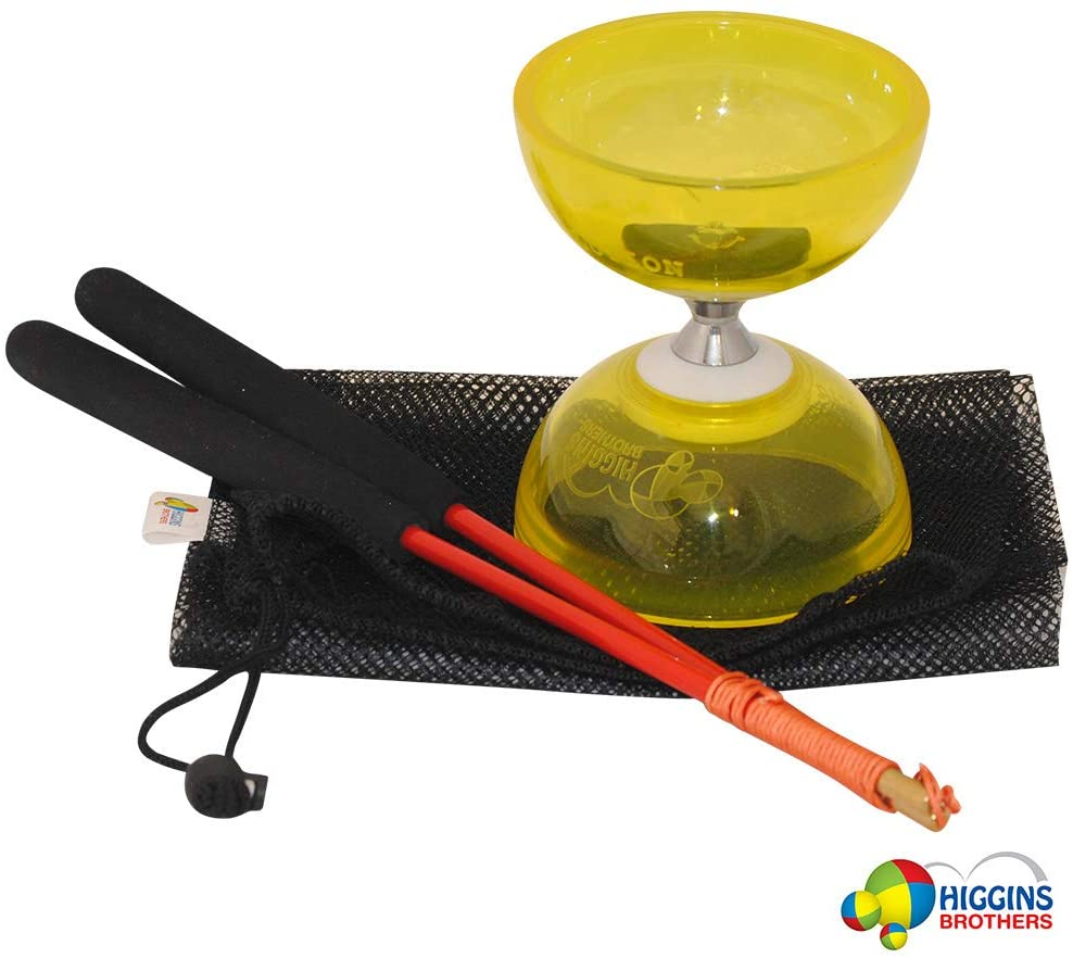 Higgins Brothers Revolution Triple Bearing Diabolo Set with Fiberglass Handsticks and Mesh Carry Bag (Yellow)