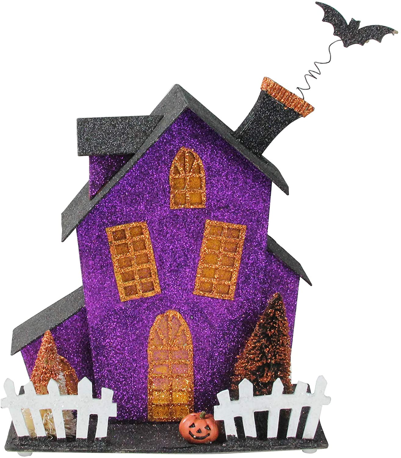 Midwest 11 Black and Purple Glitter Drenched Lighted Haunted Fun House Halloween Decor