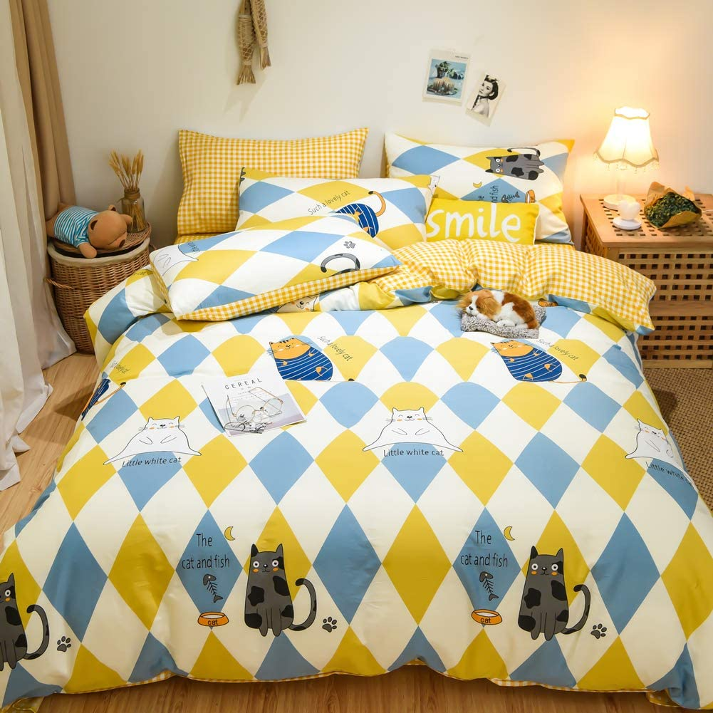 BlueBlue Cats Duvet Cover Set Twin 100% Cotton Bedding for Kids Boys Girls Teens Bed Cartoon Cat Fish Pattern on Yellow Blue Diamond 1 Reversible Check Comforter Cover with Zipper 2 Pillowcases (Twin)