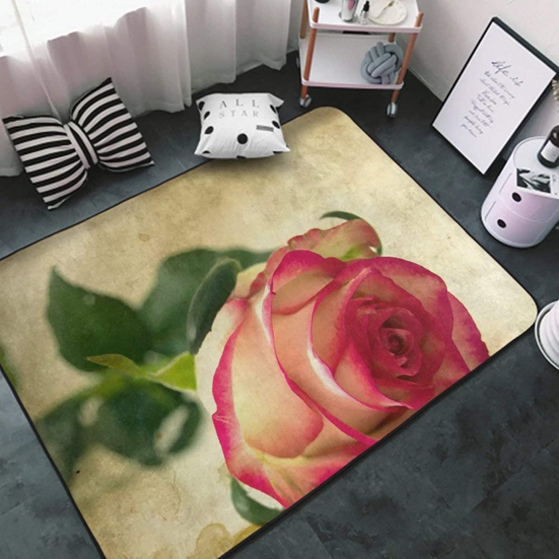 Area Rug Premium Non-Slip Area Carpet White-Vintage Rose flower2 Rug Doormat for Girls Bedroom, Play Room, Nursery, Playroom Area Rugs