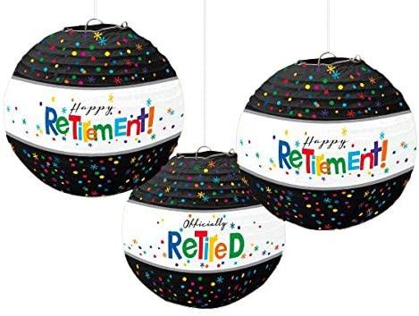 Happy Retirement Party Lanterns, 9.5, 3 Ct.