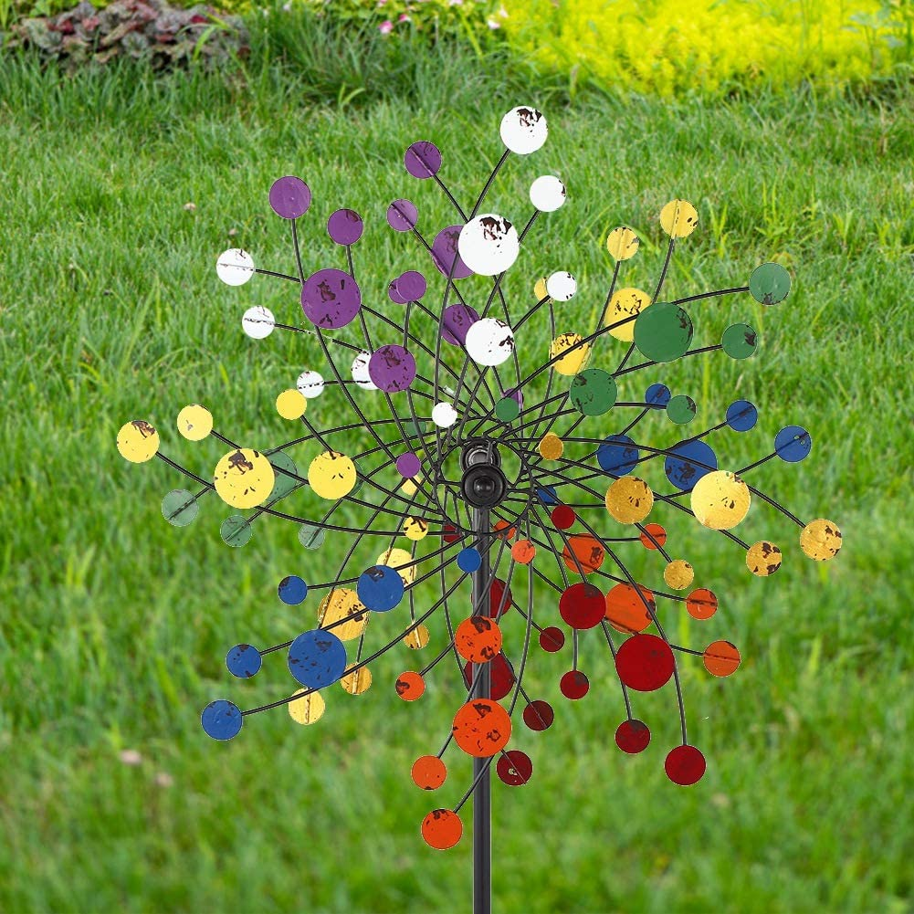 TOPINCN Colorful Wind Spinners, Lawn Windmill Metal Garden Spinner for Lawn Garden Yard Decorations (Warm Color)