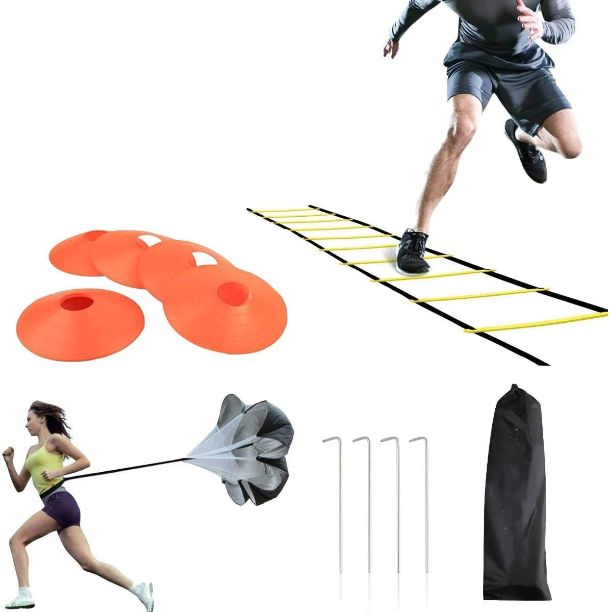 LYYZ Speed And Agility Training Set-Indoor And Outdoor TPE 6M 12-Step Adjustable Agility Ladder, 1 Resistance Parachute, 4 Metal Piles And Carrying Bag, Can Speed Up The Pace Improve Sports Skills