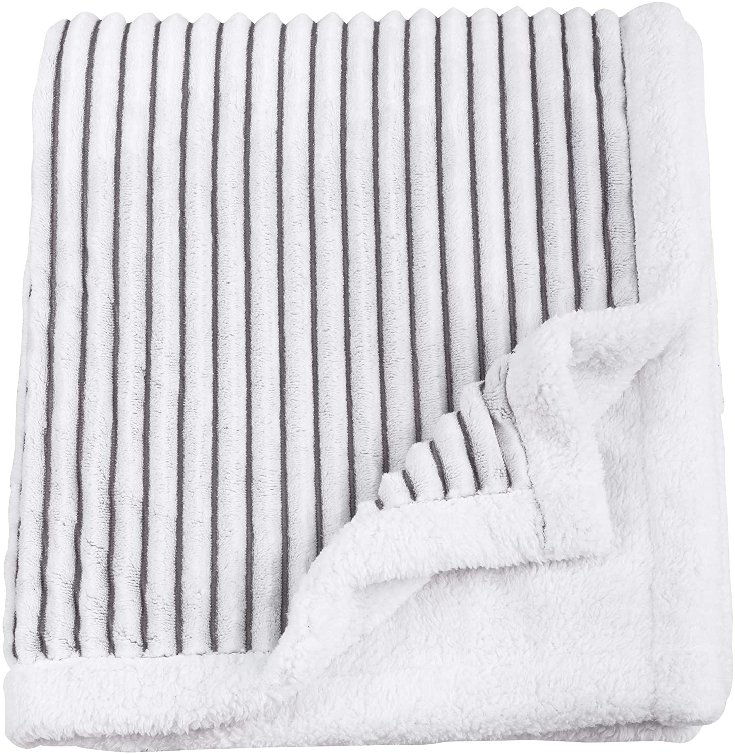 SOCHOW Sherpa Fleece Throw Blanket, Super Soft Fluffy Warm Stripe Plush Blanket for Sofa Couch Bed 60 x 80 Inches, Grey/White