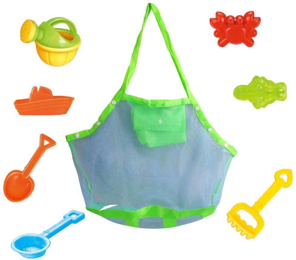 Wasvidra Beach Mesh Tote Bag, Toys Towels Sand Away Storage Bags Packs for Travel Beach Swimming Pool Mesh Beach Bag Large Tote Backpack Outdoor Kids Toys Travel Towels Sand Away