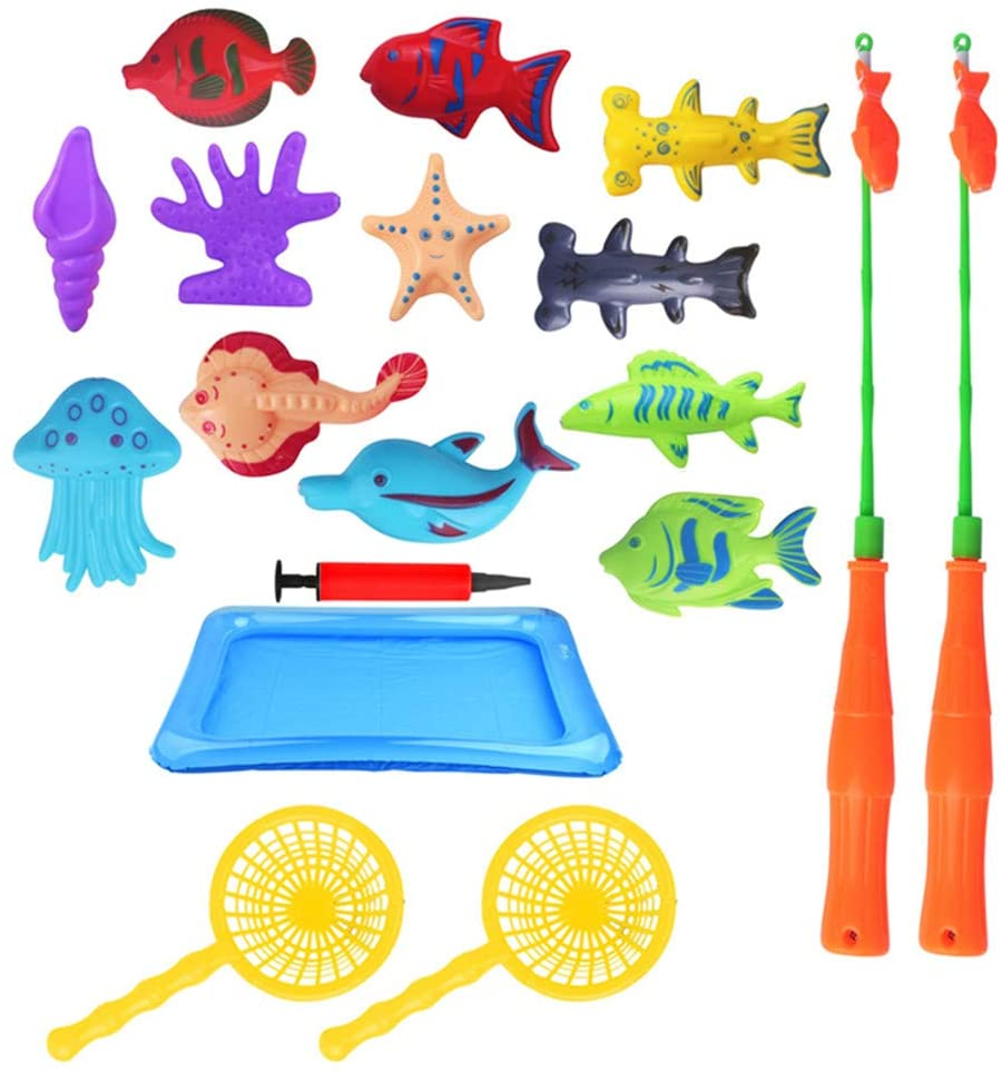 Taghua Magnetic Fishing Toys Game Set 18 Pack, Fishing Pool Toys Game Summer Fish Net Water Table Fishing Bath Toys for Kids