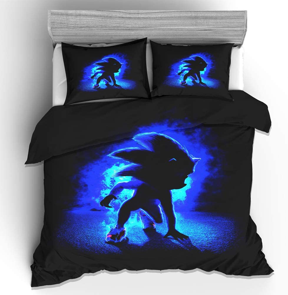 Viuseay Sonic The Hedgehog Bedding Set Twin Size 2PCS Black Blue Cartoon Printing Comforter Cover Set, 1 Duvet Cover with 1 Pillow sham