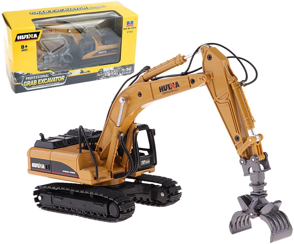 Gemini&Genius 1/50 Scale Diecast Timber Grab Excavator Articulated Dump Truck Engineering Timber Grab Vehicle Construction Alloy Models Toys to Kids and Decoration for House