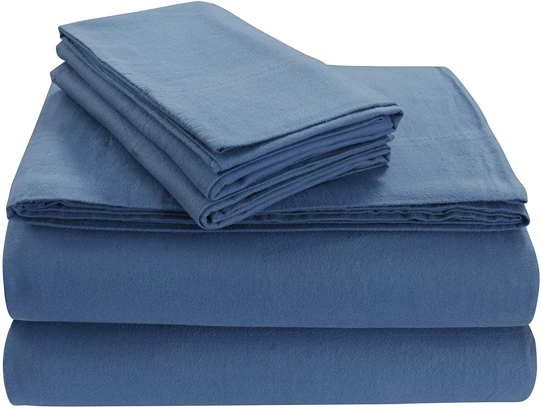 Tribeca Living SOLFL170SSQUDB Solid 5-Ounce Flannel Extra Deep Pocket Sheet Set Queen Dark Blue