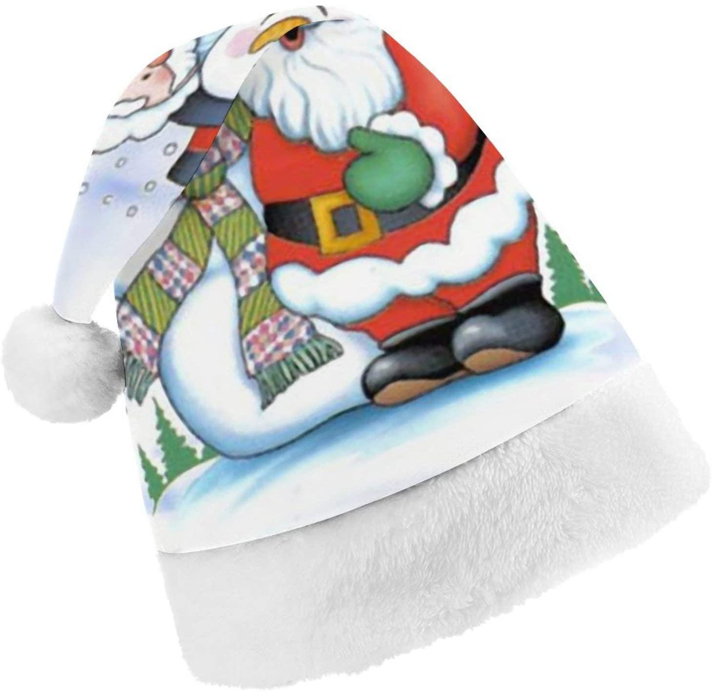 Christmas Hats for Kids Child Plush Santa Hat Xmas Holiday Hat for Christmas New Year Festive Holiday Party Supplies