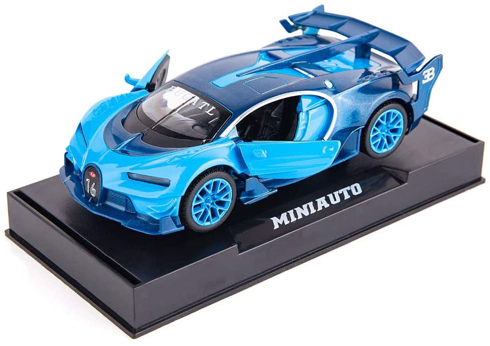 BDTCTK Bugatti Chiron Vision Grand Turismo 1/32 Zinc Alloy Die Casting Pull Back Car Model Toy Sound and Light Boy Girl Gift (Bule)