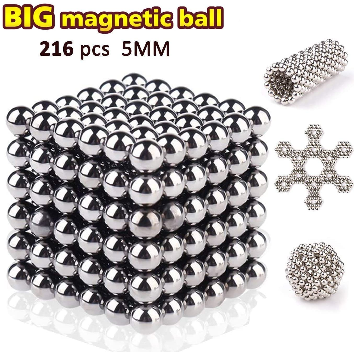 5MM Set of 216 Magnets Building Blocks Toys for Intelligence Learning Development and Creative Educational Toy, Office Desk Toy & Stress Relief for Adults (Silver)