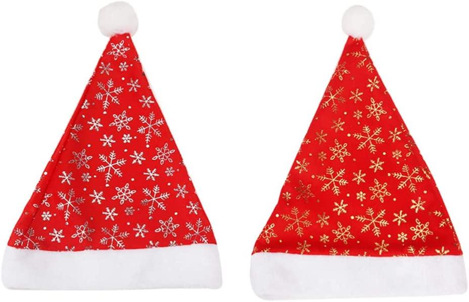 Amosfun 2 Pcs Christmas Hats Santa Hat Plush Snowflake Christmas Costume Classic Hat for Party