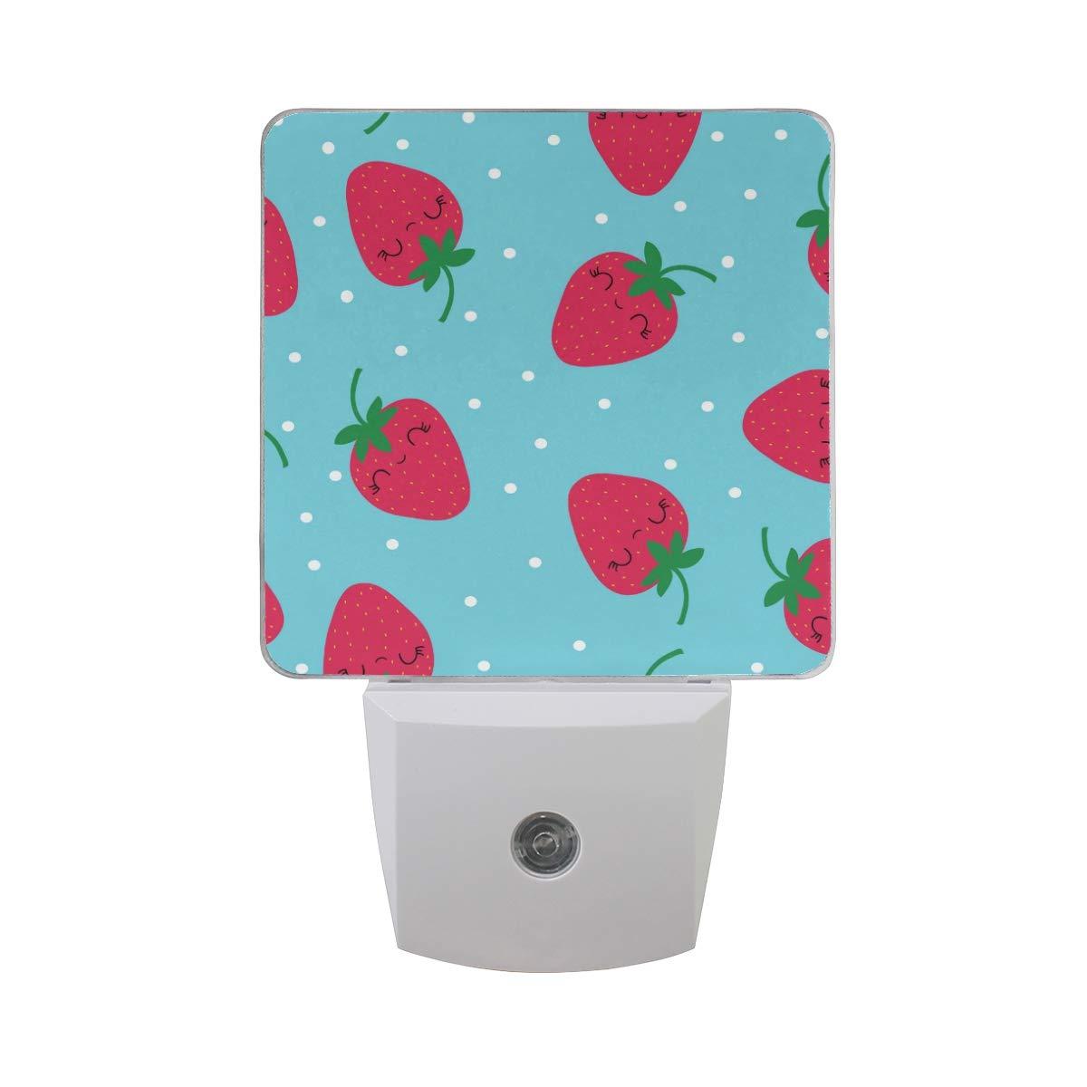 Linomo LED Night Light Lamp Red Strawberry Pattern Auto Senor Nightlight Plug in for Kids Adults Boys Girls Bedroom Decor, 2 Pack