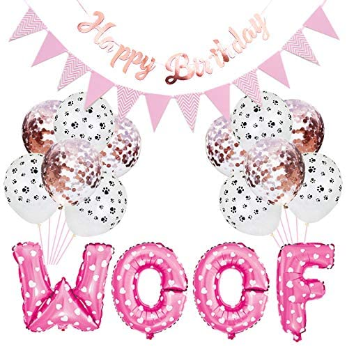 Dog Birthday Party Supplies Pet Party Balloons WOOF Letter Balloons Paw Print Balloons Pet Birthday Hat Happy Birthday Banner for Dog Birthday Party