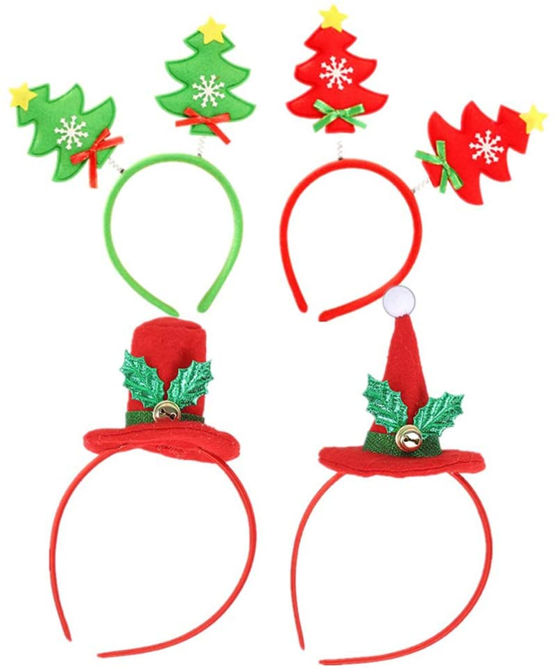 NUOBESTY 4pcs Christmas Headbands Head Bopper for Christmas Party Costum Supplies