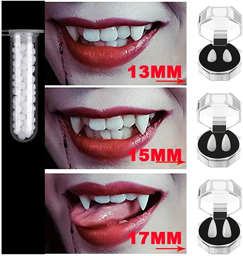Enjoyxo 3 Pairs Vampire Teeth Fangs with Adhesive, Halloween Party Cosplay Dentures Prop Decoration Costume Party Favors White