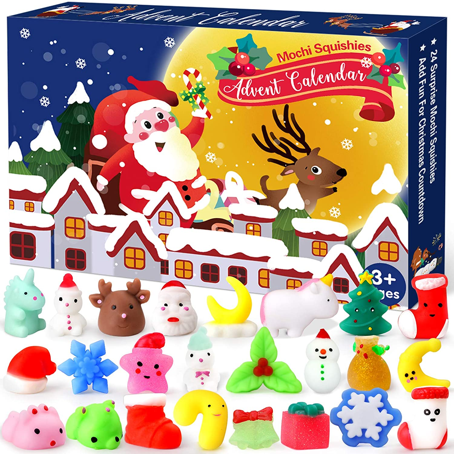 Christmas Advent Calendar 2020 Countdown Calendars Toys for Kids LUDILO Christmas Mochi Squishy Toys 24Pcs Different Cute Mochi Animals Relief Stress Toys Unique Advent Calendars for Girls Boys