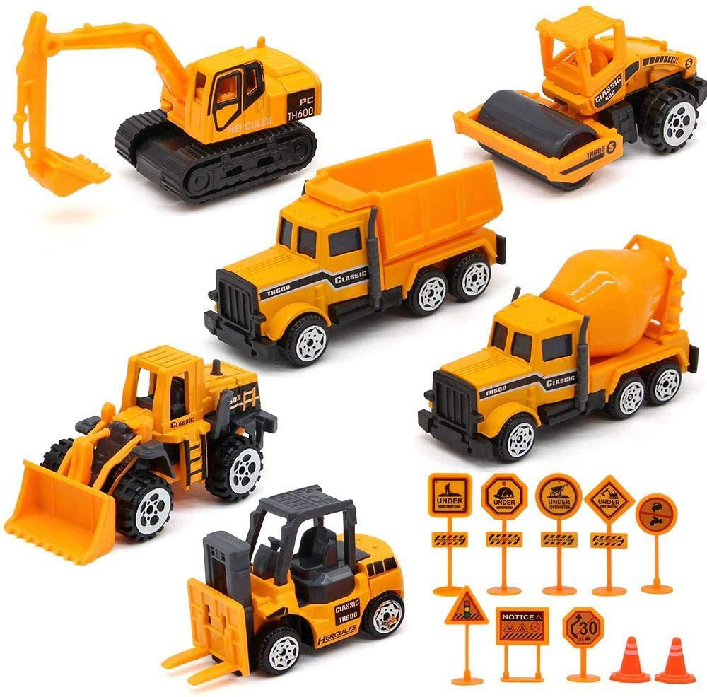 Feleph Mini Construction Truck Toys Play Vehicles Bulldozer Excavator Dump Forklift Set Sandbox Cars with Road Sign Traffic Cone for Boys Party Supplies Cake Topper 16pc
