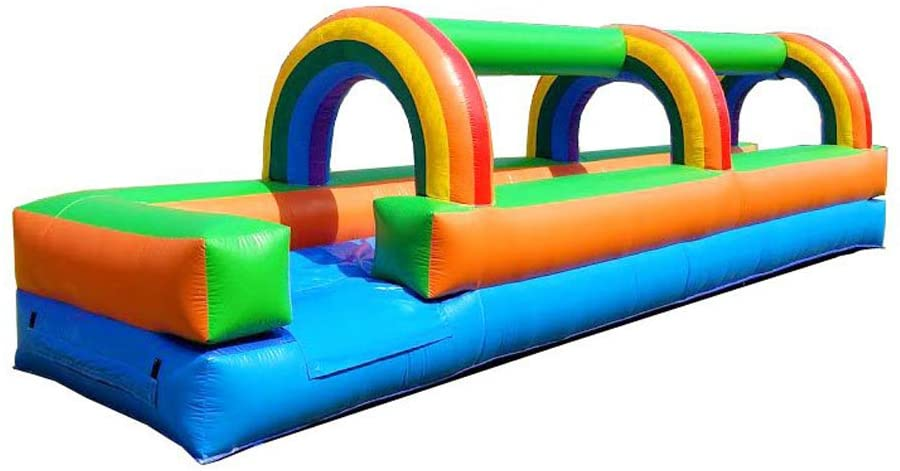 Pogo Bounce House Inflatable Slip and Slide - 25' Foot Long x 6' Foot Tall x 9' Foot Wide - Crossover Tropical Oasis Complete Setup - Includes: Commercial Blower, Stakes, and Repair Kit