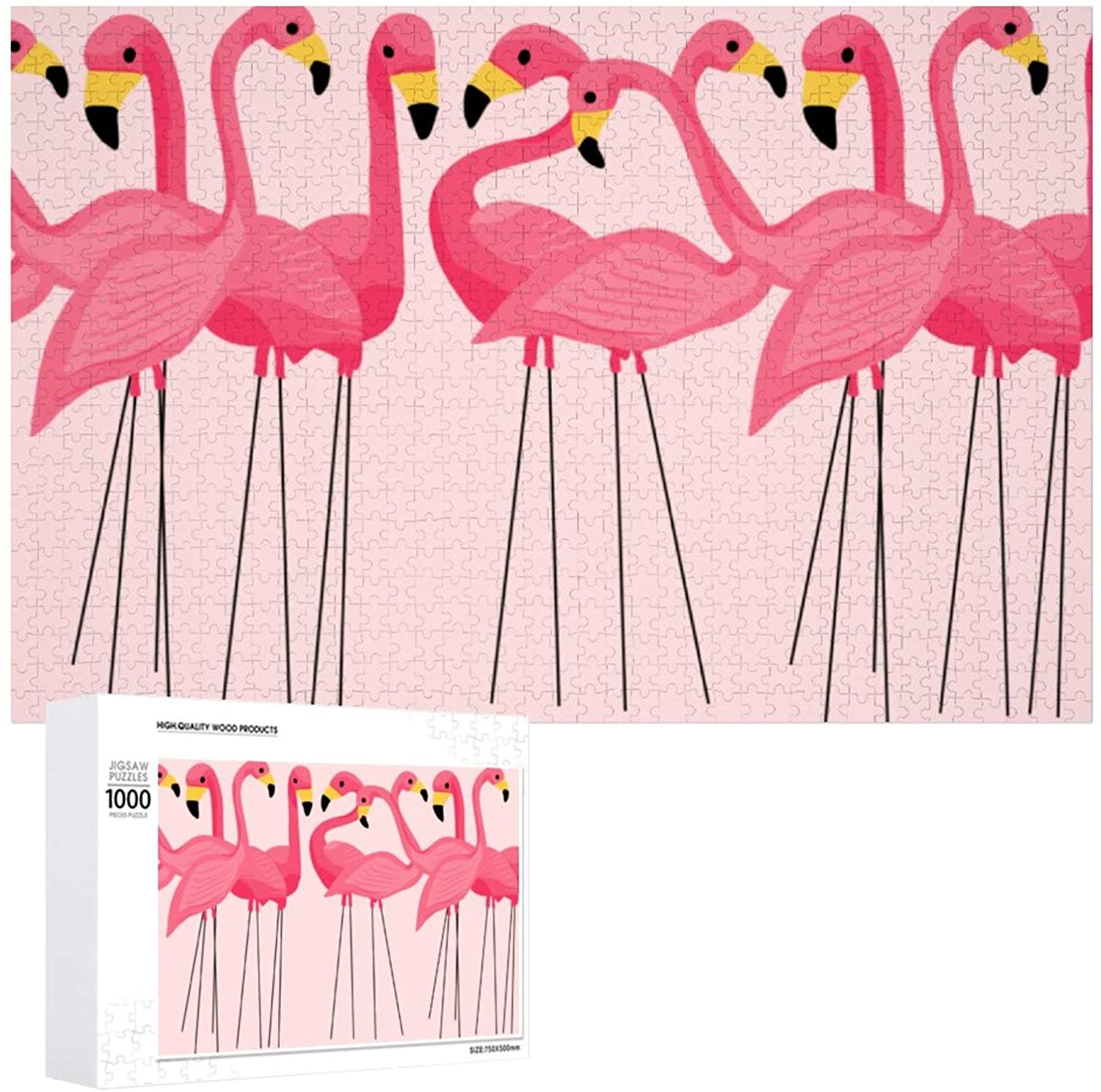 A Flock of Flamingos Wooden Puzzle 1000 Pieces Jigsaw Puzzle for Adults Kids Large Puzzle Game Toys Gift Christmas Holiday Present