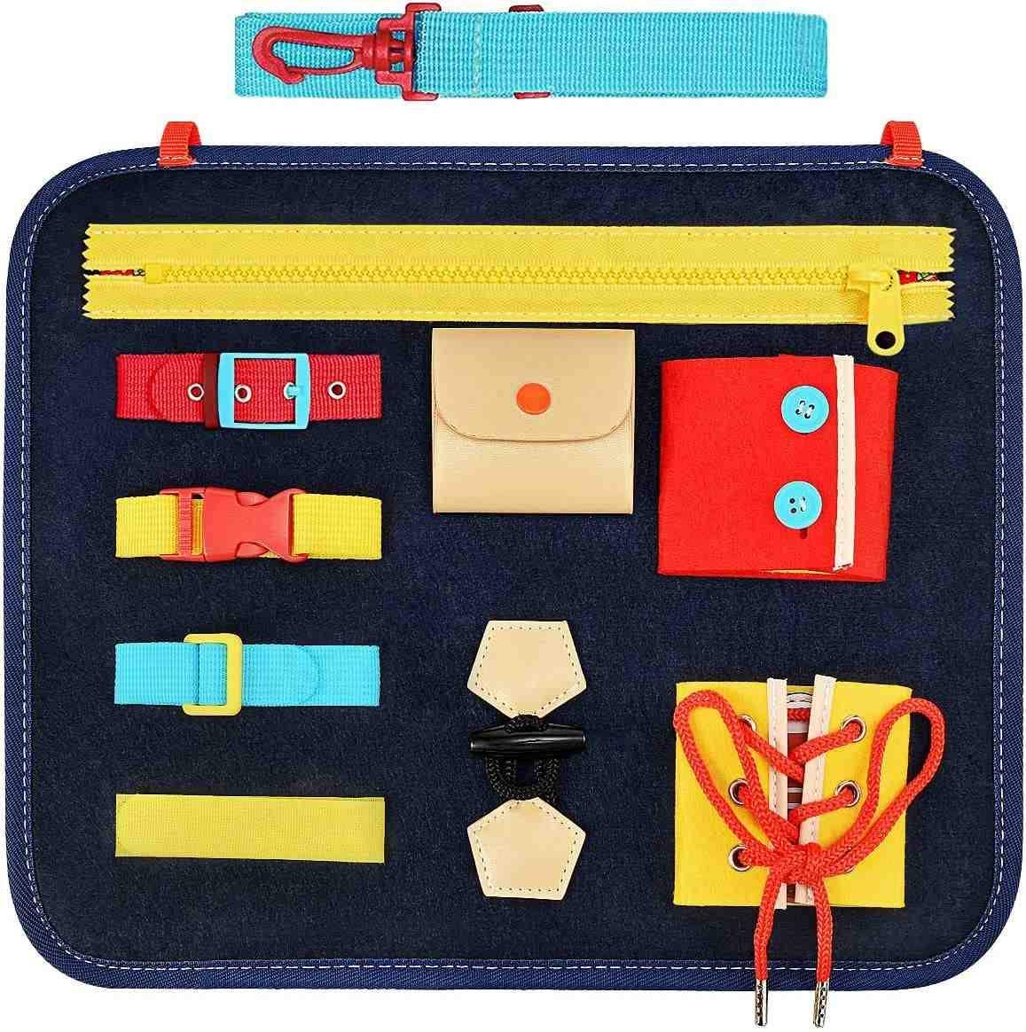 Toddler Busy Board Toy, Educational Learning Toys for Toddlers Learn Skills, Learning Board with Zippers, Buttons, Buckles, Braids Suitable for 1 2 3 4 Year Old Toddlers