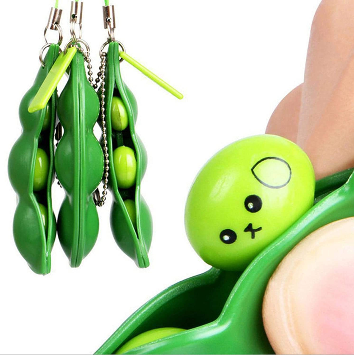 PHUNAPY Bean Stress Toy 1 Pack, Stress Relief Toy for Kids Adults Teens Relieve Anxiety & Autism, Toys to Improve Focus Keychain Accessories, Funny Facial Expression Soybean Stress Toy (1 PC)