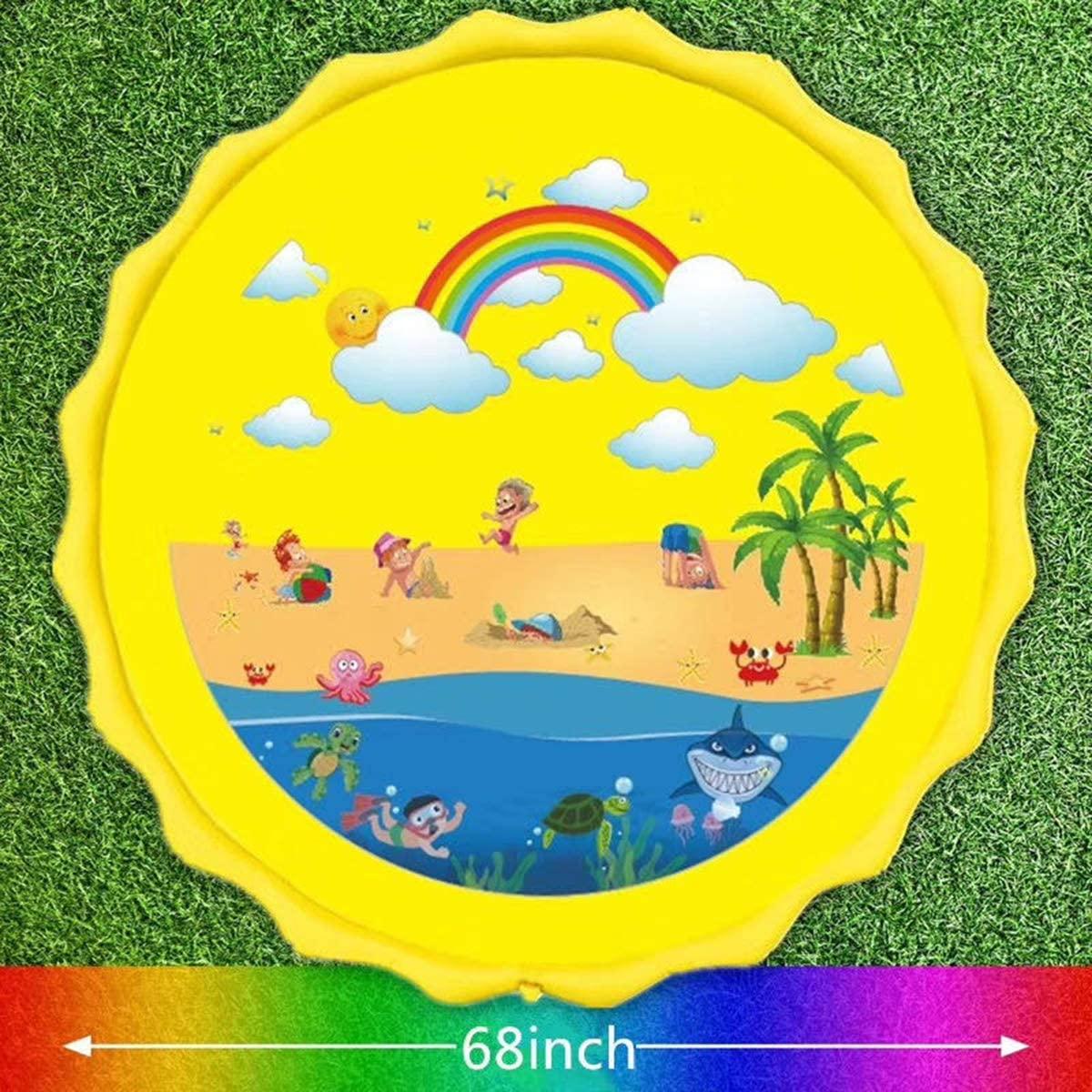 OhhGo Kids Toddler Cartoon Pattern Inflatable Sprinkler Water Play Mat Outdoor Children Fun Water Play Pad