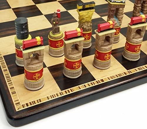 Fame Santa Fe Trains Steam vs Diesel Train Engine Chess Set W/ 17