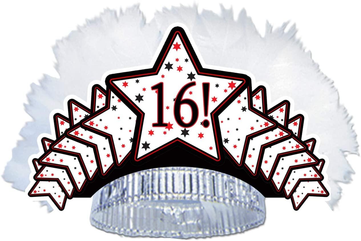 16TH Birthday Feathered Tiara (Each)