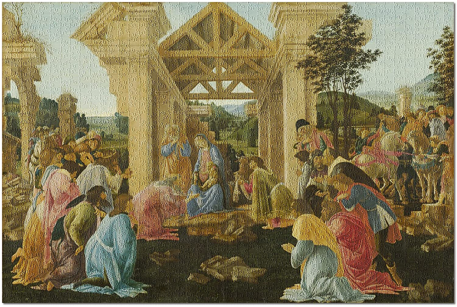The Adoration of the Magi - Masterpiece Classic - Artist: Sandro Botticelli c. 1478 57923 (19x27 Premium 1000 Piece Jigsaw Puzzle for Adults)