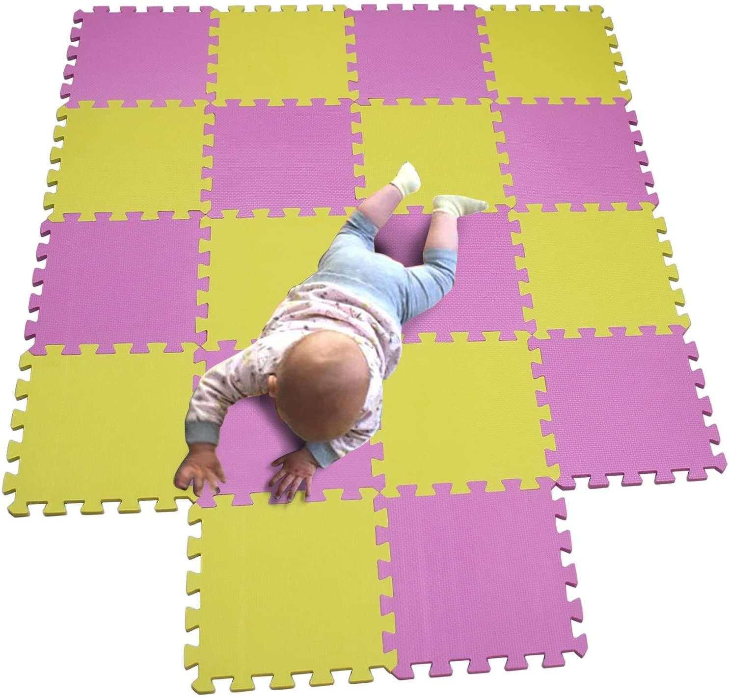 MQIAOHAM Children Puzzle mat Play mat Squares Play mat Tiles Baby mats for Floor Puzzle mat Soft Play mats Girl playmat Carpet Interlocking Foam Floor mats for Baby Pink Yellow 103105
