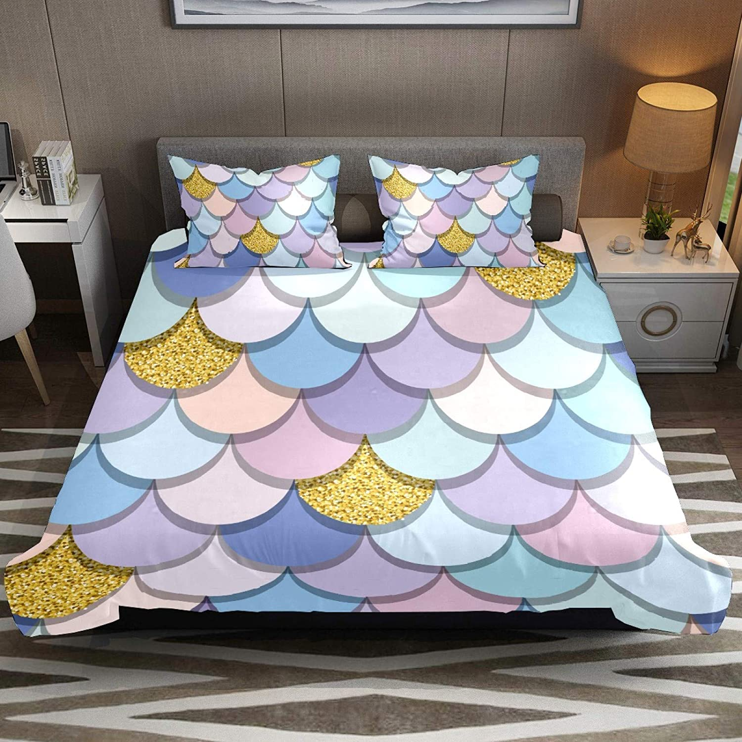 N\O 3 Pcs Beautiful Fish Scale Wavemermaid Duvet Cover Set Modern Customize 71'' x 87'' Breathable Bedding Sets (Extra Long Twin Size) Home Decor for Kids Children Teens Boys Girls