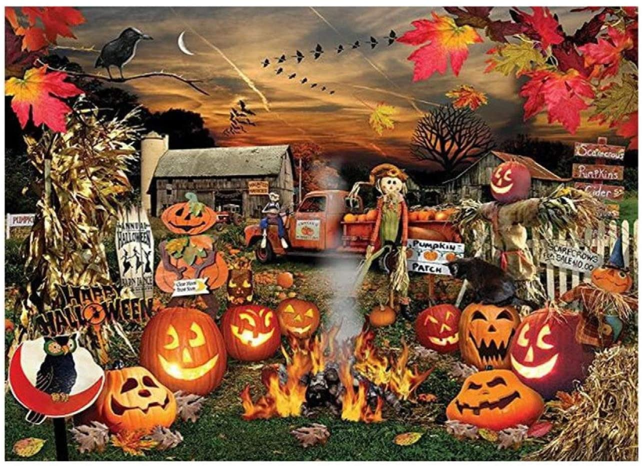 CMrtew Halloween Puzzles - 1000 Piece Puzzle Large 29.53 x 19.69 Inch Adult and Children's Puzzle Festival Gift Virtual Jigsaw Puzzle Christmas and Halloween (Multicolor D)