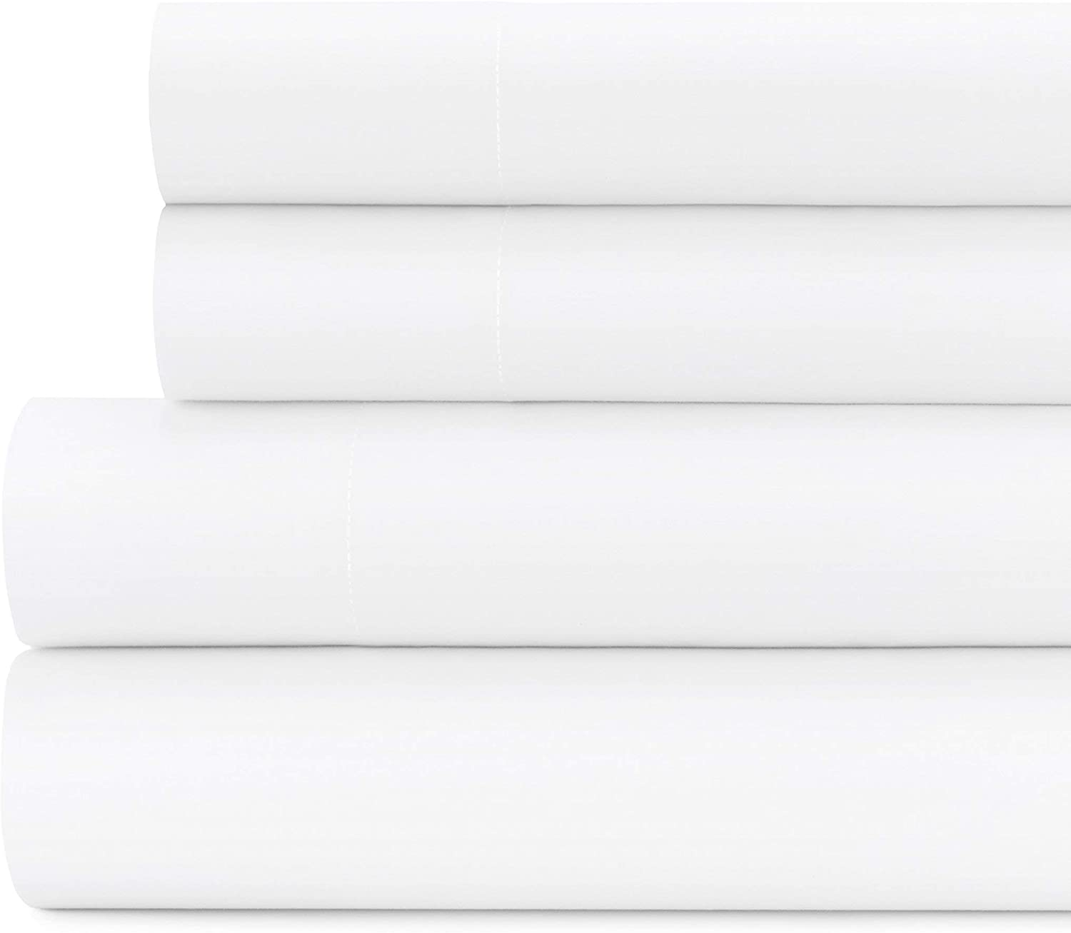 Briarwood Home 150 GSM Solid Percale Deep Pocket Bed Sheet Set, 100% Percale Cotton, Ultra Smooth & Soft Bed Sheets (Queen, White)