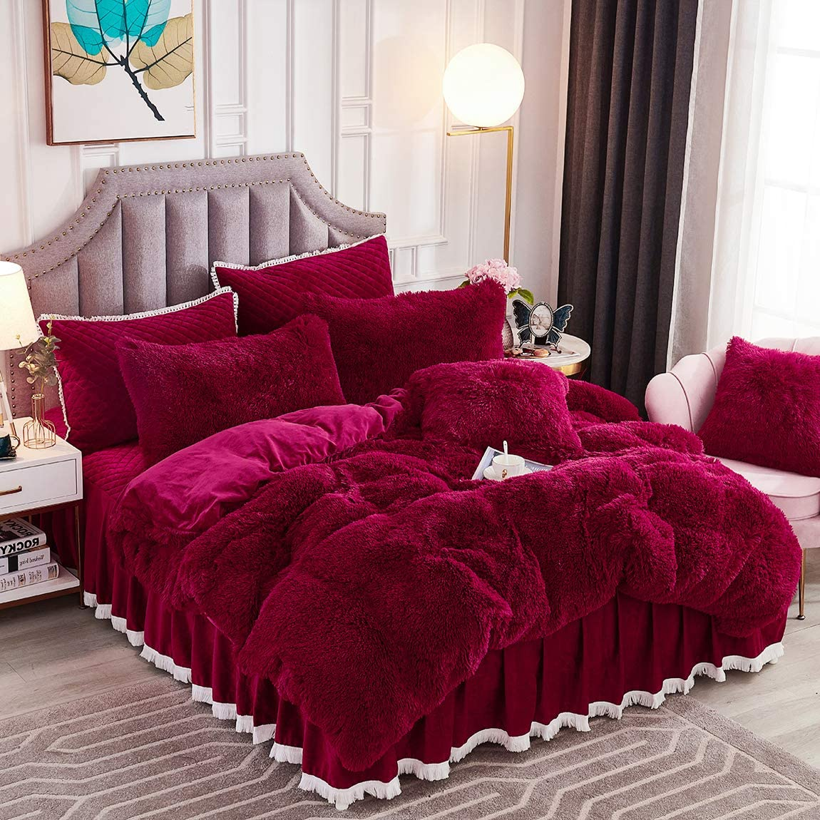 JAUXIO Luxury Long Faux Fur 3 PCS Bedding Set Shaggy Comforter Duvet Cover with Pillow Shams Ultra Soft Crystal Velvet Reverse (Queen, Burgundy)