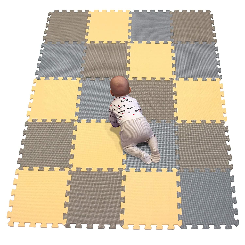 YIMINYUER Interlocking Soft Kids Baby EVA Foam Activity Play Mat Floor Tiles Indoor and Outdoor Orange Brown Gray R02R06R12G301020